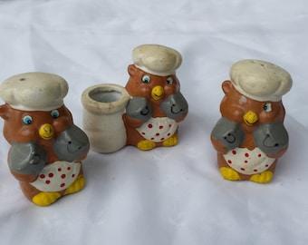 Vintage Owl Baker Salt Pepper Toothpick Holder Set