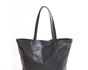 JAIMEE Black Leather Tote bag. Black Leather Bag. Tote Zipper Bag. Leather Hangbag. Women Handbag. School Tote Bag. School Leather CarryAll