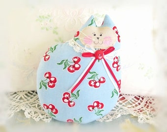 Cat Pillow Doll Cloth Doll 7 inch Cat, Blue with Cherries Print Fabric, Primitive Soft Sculpture Handmade CharlotteStyle Decorative Folk Art
