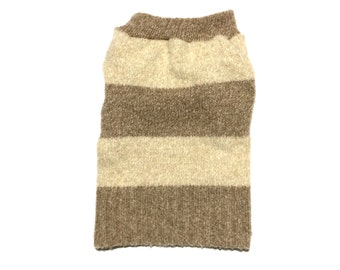 Designer Dog Sweater, Small Soft and Fuzzy Brown Striped, Pet Clothes, Puppy Boutique, Boy Dog Clothes