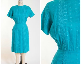50s Vintage Dress Turquoise Cotton Embroidered Vintage 1950s Sheath Size Medium