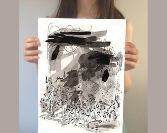 Black and white painting. Original Illustration . Original painting. Black and white illustration. Ink painting. Pen and ink drawing