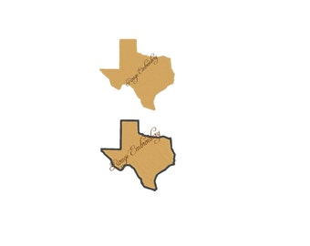 Texas State Embroidery Design Filled and Outline 4x4 5x7 6x10