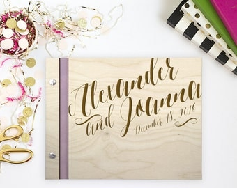 Scripted Love Laser Engrave Wedding Guestbook