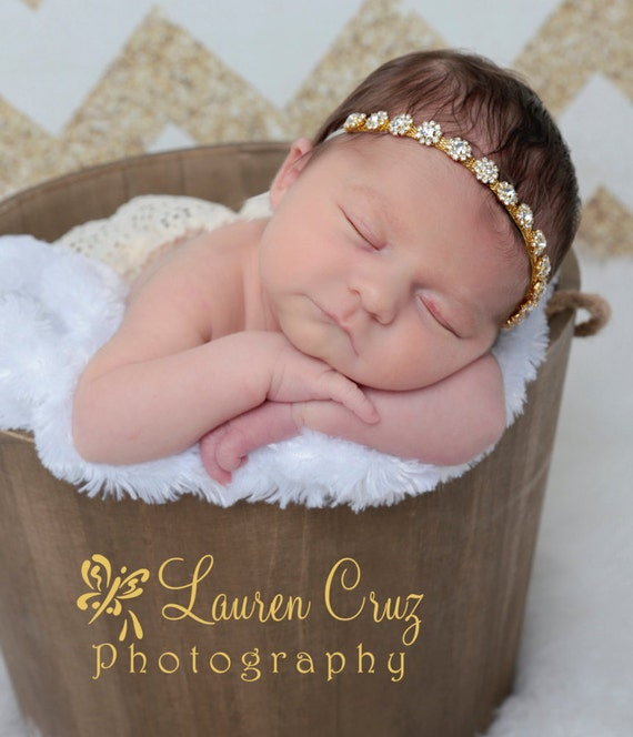 Gold or Silver Rhinestone Tieback or Headband Photo Prop for newborns through adults, Lil Miss Sweet Pea, infant, bebe, sparkle, diamonds
