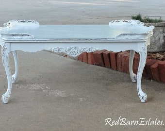 GORGEOUS COFFEE TABLE Curvy Legs Painted Antique Pale Baby Blue Restored 1920's The Shabby Chic Furniture
