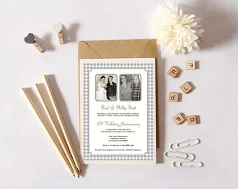 Personalized - Then and Now Two Photo 25th Wedding Anniversary Invitation - Silver/Grey Houndstooth - Custom Printable
