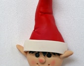 Personalized Christmas Ornaments ~ Elf Christmas Ornament ~ Cute Elf Ornament in Polymer Clay by Classon Creations