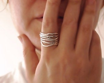 Thick Band Ring, Branches Ring, Shiny Silver, Large Band, Wrapped Twig, Hand Forged Sterling Silver, Hammered, Abstract, Art Jewelry