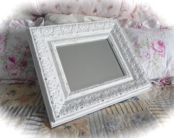 Shabby Vintage Baroque ORNATE Fancy Posh RECTANGULAR Rococo Carved Wall Accent MIRROR Florentine Winter White Cottage Chic