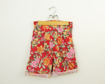 Crimson Floral High Waisted Shorts -  Vintage 1980s Laura Ashley Shorts in Small