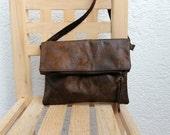 Vegan fold over crossbody bag, FAUX LEATHER, chocolate brown messenger bag,lightweight.Adjustable strap.Minimalist. Handmade. leather vegan.