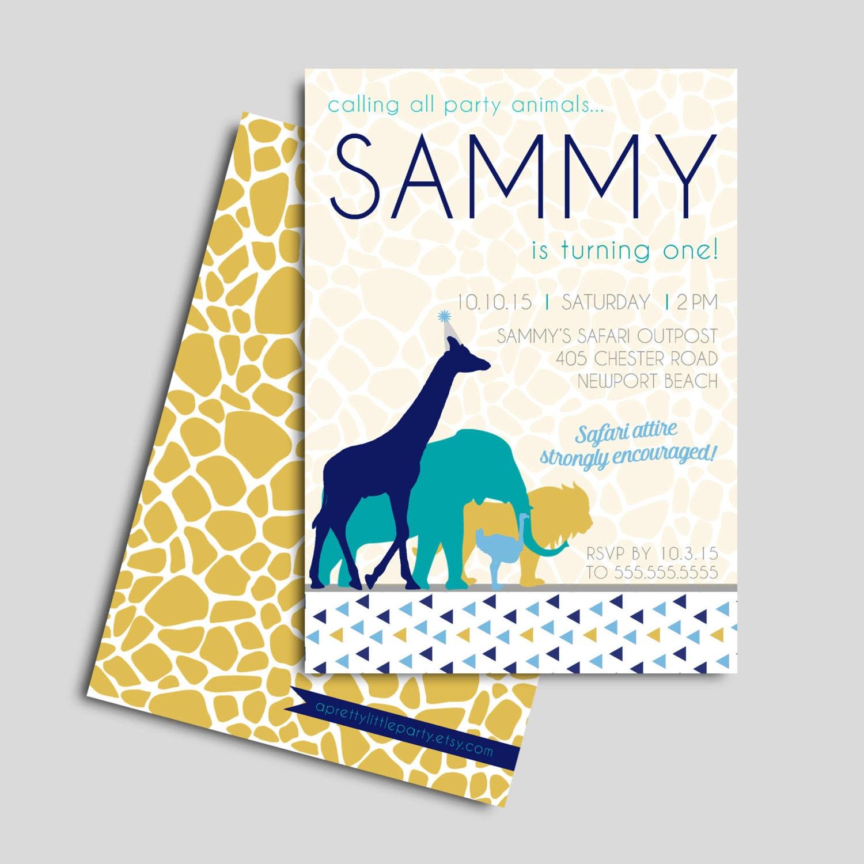Safari Animals Invitation for boys -  Safari Zoo Party  - Printable Party Supplies