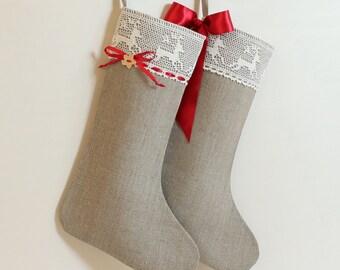 Christmas stocking Scandinavian Christmas stocking Linen burlap stocking Lace 2017 Christmas stocking