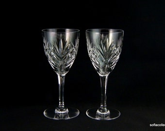 St. Louis Crystal Chantilly Pattern Continental Size Wine Goblets / Wine Glasses - Vintage 1950s Crystal Stemware