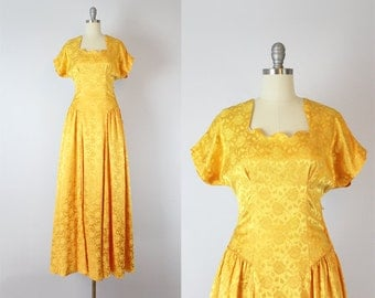 vintage deadstock 40s dress / 1940s floral brocade dress / marigold yellow maxi dress / dress and glove set