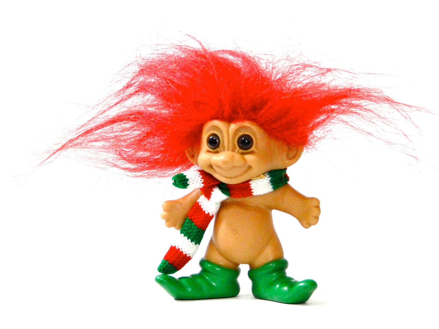 Russ Troll Doll Christmas Dude Red Hair Scarf And Green