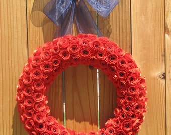 "12"" Red Textured Card Stock Paper Rose Wreath with Navy Pearls and Ribbon"