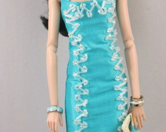 Beaded Aqua Dupioni dress for Silkstone Barbie and Integrity Dolls