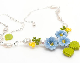 Blue Bridal Rustic Wedding Necklace. Blue Forget Me Not Flower Necklace, Bridal Accessories, Blue Garden Necklace, Blue Nature Jewelry N467