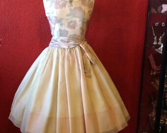 1950s Pink Rose Dress Organza Overlay Full Skirt