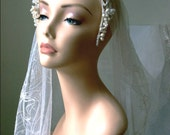 1930s PEARL finish wax flower and bud tiara with chenille trim. TIARA 67