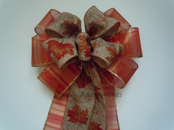 Maple Leaves Fall Wreath Bow Wedding Pew Bow Burnt Orange Fall Leaves Pew Bow Fall Leaves Thanksgiving Wreath Bow Fall Wedding Aisle decor