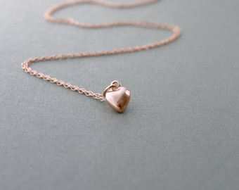 Rose Gold Heart Necklace, Dainty Pendant Necklace, Tiny Rose Gold Necklace, Dainty Heart Necklace, Rose Gold Jewelry, Romantic Wife Gift