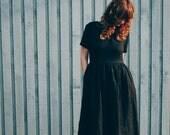 Black Linen Dress - Short Sleeved Dress - Loose Dress - High Waist Dress - Handmade by OFFON