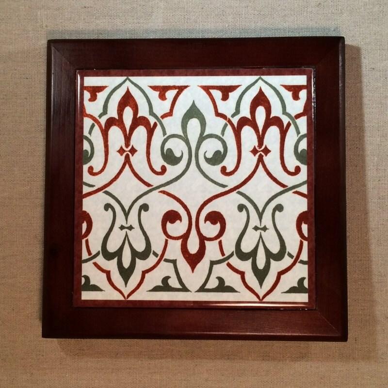 Framed Tile 6 Inch Square Tile Fleur De Lis Art Tile