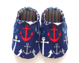 Nautical Baby Boy Shoes with Anchors, 0-6 mos Baby Booties, Soft Sole Shoes, Boy Crib Shoes, Soft Booties, Slip on Baby Shoes, Baby Boy Gift