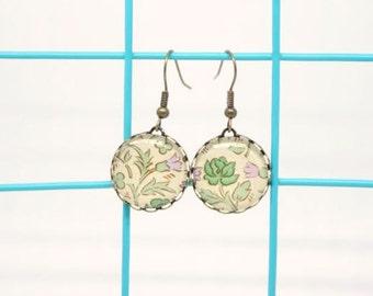 Green Rose William Morris Design 18mm Glass Cabochon Earrings