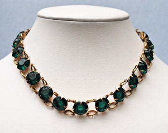 Green and  Brass collar necklace