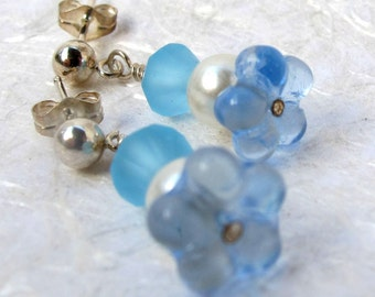 Blue Glass Flower and Pearl Earrings