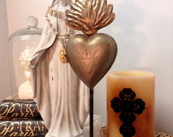Religious Ex Votos Milagros Flaming Heart Tin Sacred Heart on stand lockett Brass Gold Color Single item