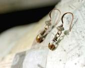 Small Drop Earrings, Rustic Jewelry, Crystal Mixed Metal Earrings, Crystal Drop Glass Beads, Simple Jewelry