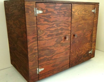 Vintage Wood Storage Cabinet Office Furniture Table Stand