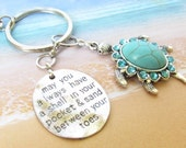Sea Turtle Keychain, Beach Keychain, Shell in Pocket Keychain, Car Accessories, Turquoise Seaturtle Keyring