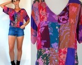 Vintage 80s Patchwork Purple Pink Batik Crop Top. Slouchy Fit Button front india Floral Print dress Shirt. boho Hippie. Extra Small - Small