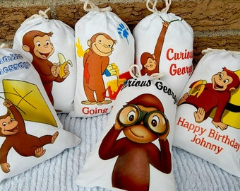 """Curious George Birthday Party Favor bags great for gifts and treats Personalized 5"""" x 7"""" or 6 x 8 Qty 6 to the set"""