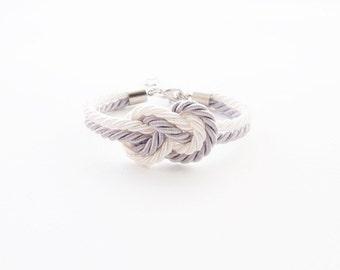 Nautical rope bracelet -  bridesmaid bracelet - beach wedding jewelry - white gray wedding - nautical wedding gift - infinity knot rope
