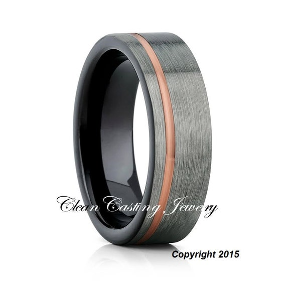 Men39s tungsten wedding bandgunmetal by cleancastingjewelry for Mens gunmetal wedding rings