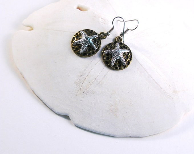 Silver Tone Starfish with Textured Brass Disc Earrings with Sterling Silver or Hypoallergenic Surgical Stainless Steel Ear Wires