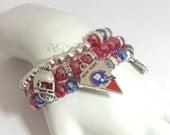 New York Giants Bracelets, NFL, Football, Blue and red, Stretchy, Team Charm Bracelets, Handmade, Custom, Beaded Jewelry