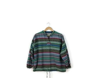 Vintage Colorful stripe Long sleeve Cotton Pullover /Tunic Blouse from 80's