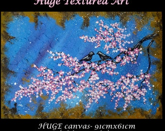 "cherry blossom tree painting, large abstract art , Japanese flowers with pink and white, Japanese painting, wall paintings of birds, 36""x24"""