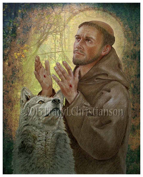 st francis of assisi b print catholic patron of