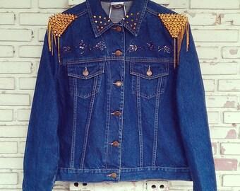 Reworked Studded Vintage Jean Jacket / Studded Jean Jacket Women Size: M