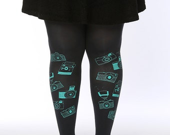 Plus Size camera printed tights, plus size tights, plus size pantyhose