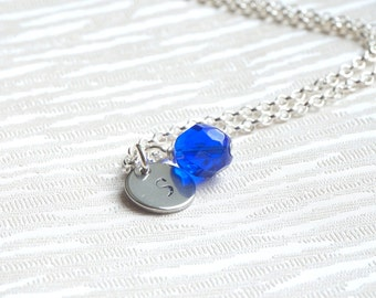 Set of six 6 Personalized Bridesmaids gifts, Royal Blue Initials Bridesmaids Necklaces, Personalized bridesmaid jewelry, Flower girl jewelry